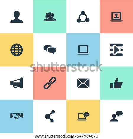 Set Of 16 Simple Social Icons. Can Be Found Such Elements As Profile, New Mail, Publish And Other.