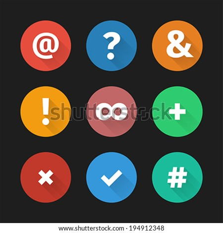 Set of simple social web icons with shadows in flat design. Vector illustration, easy editable. - stock vector