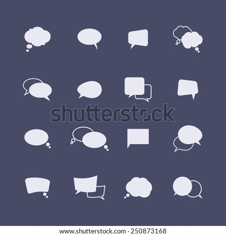 Set of simple speech bubble icons on the dark background. Vector - stock vector