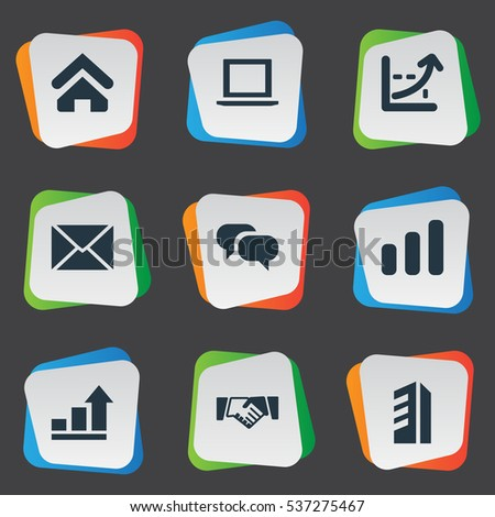 Set Of 9 Simple Startup Icons. Can Be Found Such Elements As Discussion, Computer, Greeting And Other.