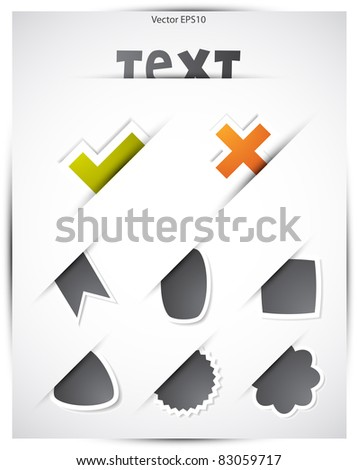 Set of simple sticker design elements, Vector EPS10. - stock vector