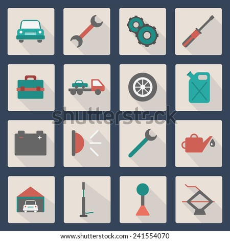Set of simple thin car repair icons for your design - stock vector