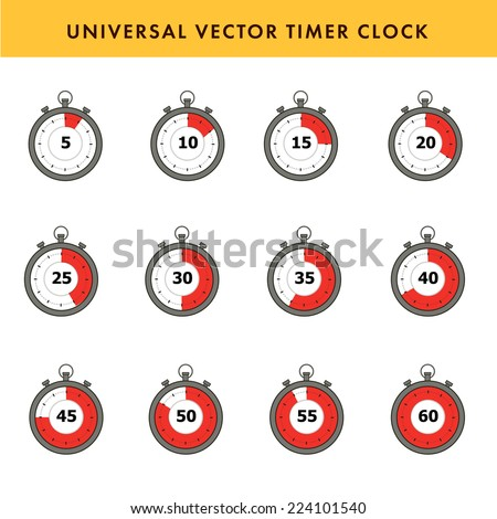 Set of simple timers. Vector stroke symbols. - stock vector