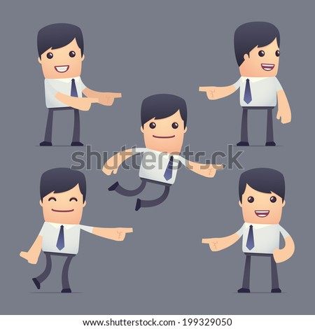 set of simple universal characters in different poses. businessman. Use the character in dialog poses with other characters from this series