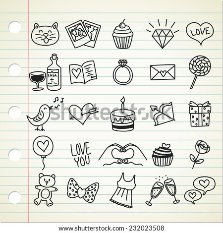 set of simple valentine icon in doodle style - stock vector