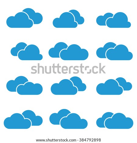 Set of simple vector icons - blue clouds