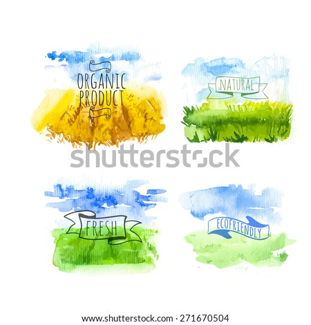 Set of simple watercolor landscape with fields and farms. Vector illustration of nature in a Provencal style. Organic farms.  - stock vector