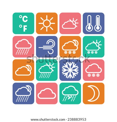 Set of simple weather and climate icons
