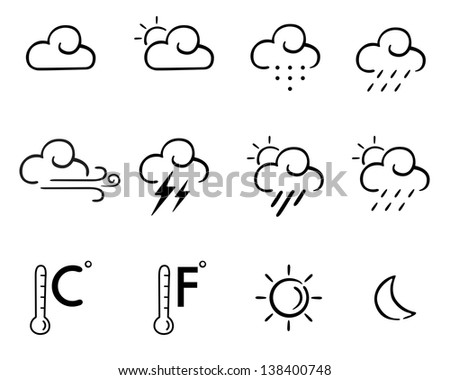 Set of simple weather icon or symbol in vector line art