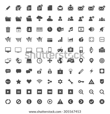 Set of 100 simple web icons.