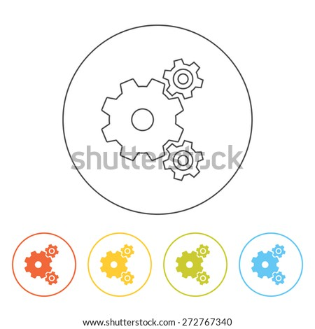 Set of simple web line gears icons. Concept for settings, options, preferences, vector illustration - stock vector