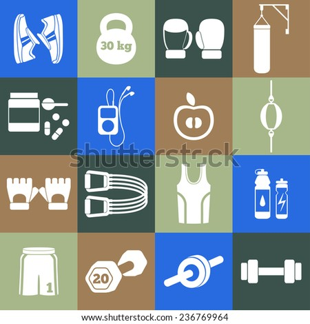 Set of simple white silhouettes fitness icons for boys. Vector illustration of sport symbols in flat style on multicolored squares background - stock vector