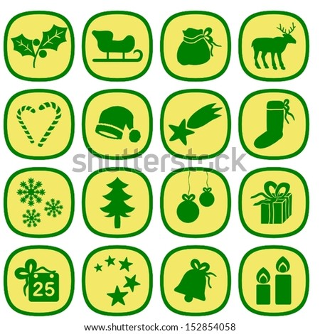 Set of simple xmas icons in gold and green colors. This is a vectorial image, can be resized without loss of quality. - stock vector
