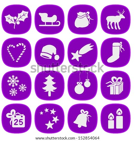 Set of simple xmas icons in purple and silver colors. This is a vectorial image, can be resized without loss of quality.