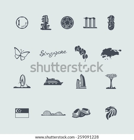 Set of Singapore icons - stock vector
