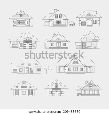 Set of single-storey houses with attics provincial. Front view. Various architectural solutions. Linear drawing on a light background. - stock vector