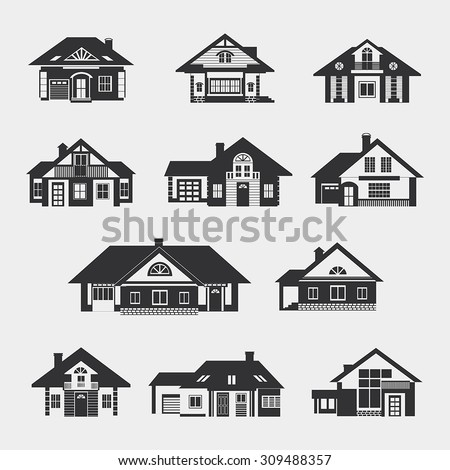 Set of single-storey houses with attics provincial. Front view. Various architectural solutions. Dark silhouettes against a light background.