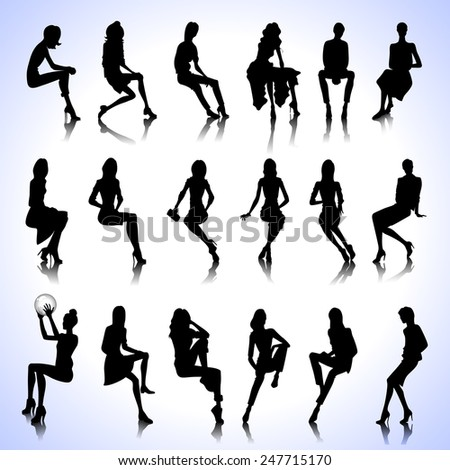 Set of sitting fashion female silhouettes