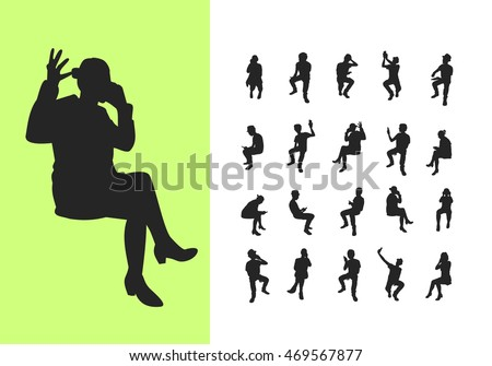 Set of sitting silhouettes with phone
