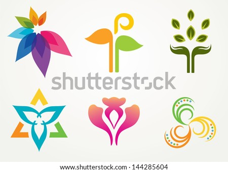 Set of six abstract floral designs  - stock vector