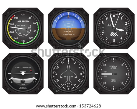 Set of six aircraft avionics instruments. Eps 10 vector illustration  - stock vector