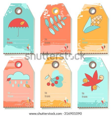 Set Six Autumn Label Designs Gift Stock Vector 316901090 - Shutterstock