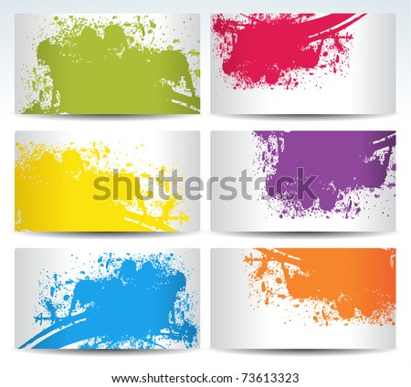 set of six background cards with coloirs - stock vector