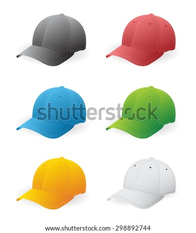 Set of six baseball caps in color - stock vector