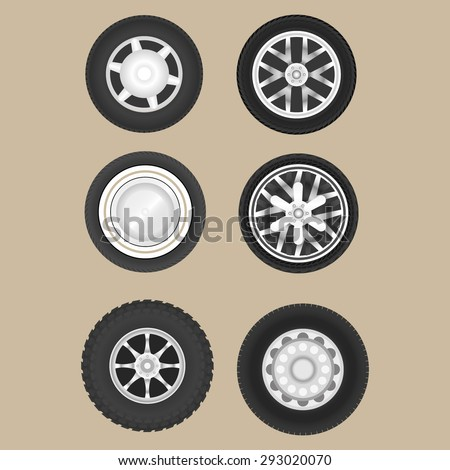 Set of six car wheels