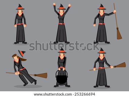 Set of six cartoon character wearing black robe costume and pointed hat and holding magic broom. Witch for fancy dress party and halloween trick and treat. - stock vector