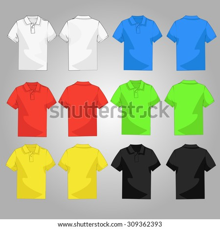 Set of six casual and style colorful polo t-shirt back and front