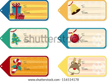 set of six christmas gift tags isolated on white background, vector format very easy to edit, individual objects - stock vector