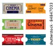Set of six cinema tickets made in various styles - stock vector
