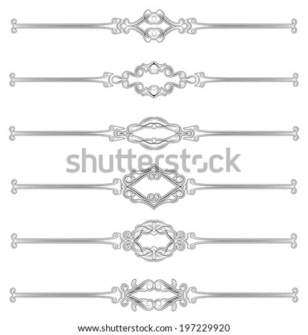 Set of six classical style page rules - stock vector