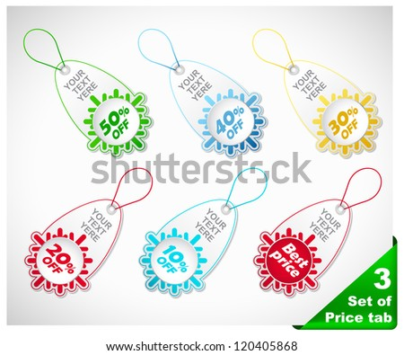 Set of six color snowflake  price tags