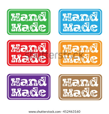 Set of six colored stamps with the text hand made written on each stamp - stock vector