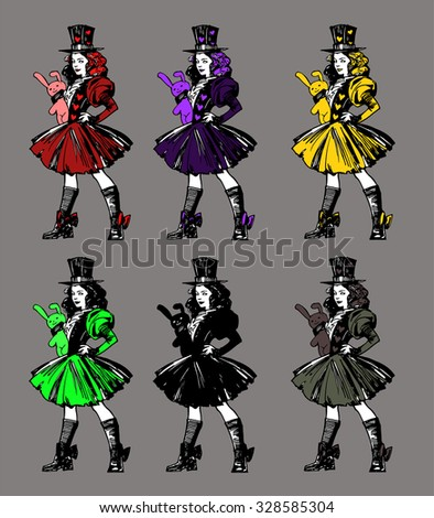 Set of six colorful illustrations of a Gothic girl holding a toy rabbit in her hands