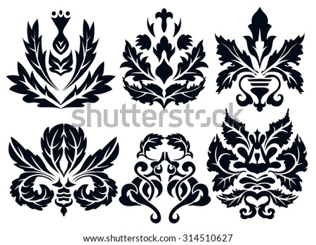 Set of six core elements of damask ornaments. Dark isolated vectors for your design.