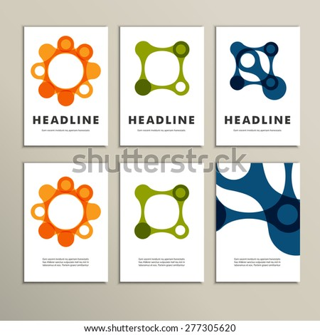 Set of six covers with abstract patterns. - stock vector