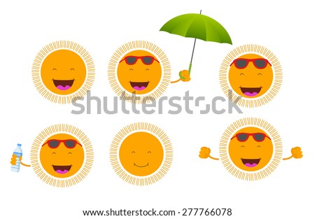 set of six cute smiley suns - stock vector