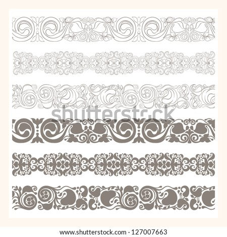 set of six different borders ornaments