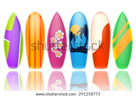 set of six different type and color surfboards on white background isolated