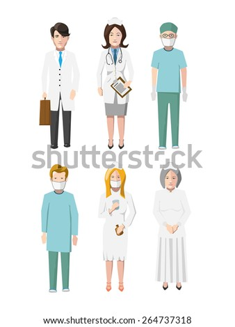 Set of six doctors flat cartoon characters different specializations isolated on white