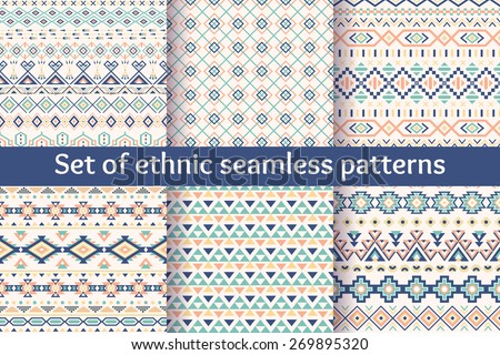 Set of six ethnic seamless patterns. Aztec geometric backgrounds. Stylish navajo fabric. Modern abstract wallpaper. Vector illustration. - stock vector