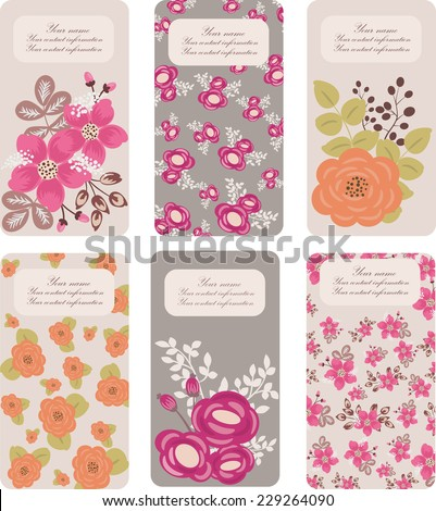Set six floral business card templates stock vector 229264090 set of six floral business card templates for woman vector background cheaphphosting Gallery