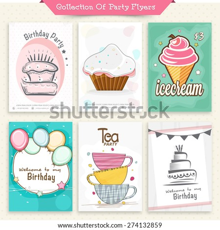 Set six flyers invitation cards party stock vector 274132859 set of six flyers or invitation cards for party celebration stopboris Image collections