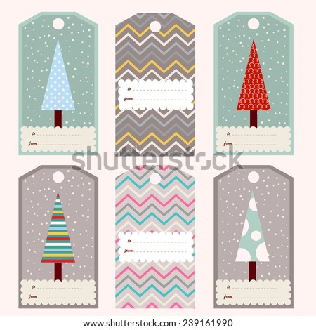 Set of six gift tags with fir trees (vector template) - stock vector