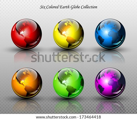 Set of six glossy colored Earth globes - Vector illustration - stock vector