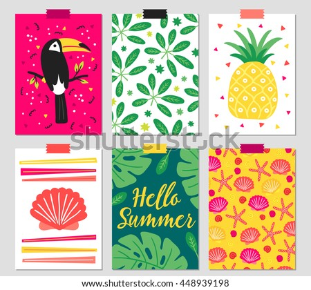 Set of six greeting cards with toucan, tropical leaves, pineapple, shell, monstera leaf, starfish on beach. Hello summer. Cartoon designed journal posters. Vector illustration - stock vector