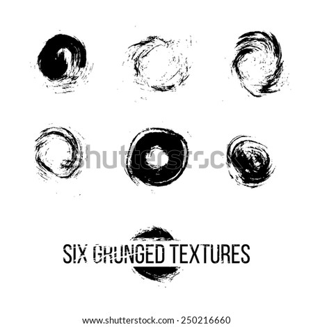 Set of six grunged dots by painbrush and ink - stock vector